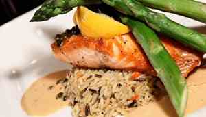 Plate of salmon, asparagus and rice
